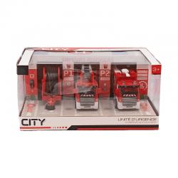 Jouet Caserne de pompiers CITY ROAD (2 camions + 1 remorque)